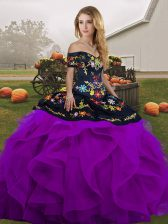 Modest Tulle Sleeveless Floor Length Quince Ball Gowns and Embroidery and Ruffles