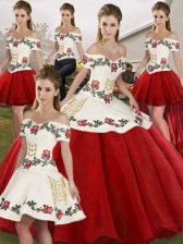 Modern Floor Length Lace Up Sweet 16 Dress White And Red for Military Ball and Sweet 16 and Quinceanera with Embroidery