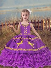 Eggplant Purple Organza Lace Up Straps Sleeveless Floor Length Child Pageant Dress Beading and Embroidery and Ruffled Layers