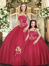 Floor Length Red Sweet 16 Quinceanera Dress Strapless Sleeveless Lace Up