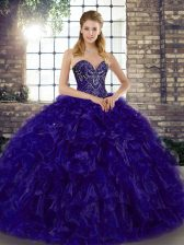 Floor Length Purple Quinceanera Dresses Sweetheart Sleeveless Lace Up