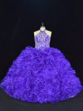 Organza Halter Top Sleeveless Lace Up Beading and Ruffles 15th Birthday Dress in Purple