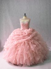 Ball Gowns Sleeveless Pink Quinceanera Gowns Brush Train Lace Up