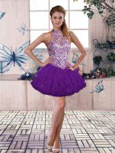Wonderful Sleeveless Beading and Ruffles Lace Up Homecoming Dress