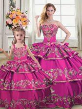 Floor Length Fuchsia Ball Gown Prom Dress Satin and Organza Sleeveless Ruffled Layers