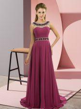 Fuchsia Sleeveless Chiffon Brush Train Zipper Prom Dresses for Prom and Party
