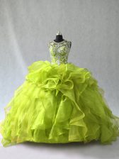 Dramatic Scoop Sleeveless Lace Up Quinceanera Gowns Yellow Green Organza