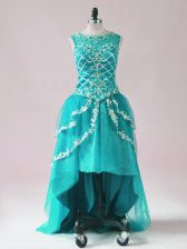Adorable Teal Tulle Zipper Evening Dress Sleeveless High Low Beading and Appliques
