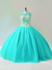Aqua Blue Ball Gowns Beading Sweet 16 Dresses Lace Up Tulle Sleeveless Floor Length