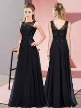 Luxury Sleeveless Chiffon Floor Length Zipper Damas Dress in Black with Beading and Appliques