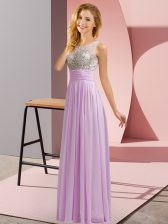 Lavender Sleeveless Beading Floor Length Dama Dress