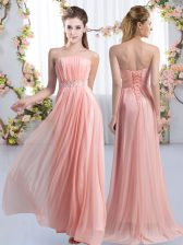 High End Chiffon Sleeveless Court Dresses for Sweet 16 Sweep Train and Beading