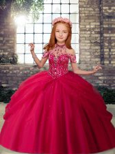 Elegant Ball Gowns Little Girls Pageant Dress Hot Pink Halter Top Tulle Sleeveless Floor Length Lace Up