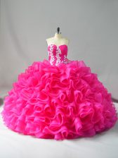 Hot Pink Sleeveless Appliques and Ruffles Lace Up Sweet 16 Dresses