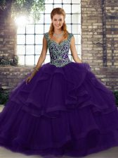 Fancy Purple Straps Lace Up Beading and Ruffles Quinceanera Gowns Sleeveless