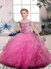 Pink Ball Gowns Tulle V-neck Sleeveless Beading and Ruffles Floor Length Lace Up Little Girls Pageant Gowns
