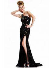 Captivating Black One Shoulder Neckline Beading Evening Dress Sleeveless Backless