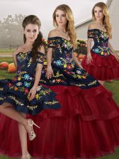 Wine Red 15 Quinceanera Dress Off The Shoulder Sleeveless Brush Train Lace Up