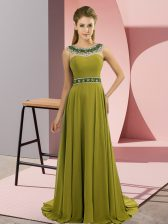Lovely Brush Train Empire Prom Gown Olive Green Scoop Chiffon Sleeveless Zipper