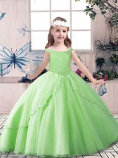 Pretty Sleeveless Floor Length Beading Lace Up Little Girl Pageant Dress