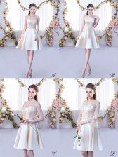 Customized Lace and Belt Dama Dress Champagne Lace Up Sleeveless Mini Length