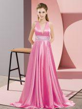 Romantic Sleeveless Brush Train Beading Backless Prom Evening Gown