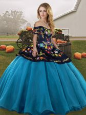 Fabulous Floor Length Ball Gowns Sleeveless Blue And Black Sweet 16 Dress Lace Up