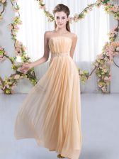 Traditional Strapless Sleeveless Vestidos de Damas Sweep Train Beading Peach Chiffon
