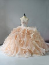 Customized Champagne and Pink And White Sleeveless Brush Train Beading and Ruffles 15 Quinceanera Dress