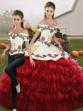 Wine Red Lace Up Off The Shoulder Embroidery and Ruffled Layers Quince Ball Gowns Organza Sleeveless