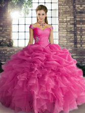 Floor Length Ball Gowns Sleeveless Hot Pink Sweet 16 Quinceanera Dress Lace Up