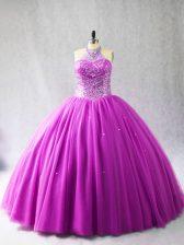 Tulle Sleeveless 15th Birthday Dress Brush Train and Beading
