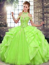 Floor Length Sweet 16 Dresses Organza Sleeveless Beading and Ruffles