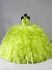 Luxurious Yellow Green 15 Quinceanera Dress Halter Top Sleeveless Brush Train Zipper