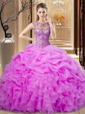 Fantastic Lilac 15 Quinceanera Dress Sweet 16 and Quinceanera with Beading and Pick Ups Scoop Sleeveless Lace Up