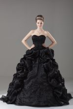 Pretty Black Ball Gowns Embroidery and Pick Ups Ball Gown Prom Dress Lace Up Organza Sleeveless