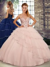 Peach Ball Gowns Sweetheart Sleeveless Tulle Brush Train Lace Up Beading and Ruffled Layers 15 Quinceanera Dress