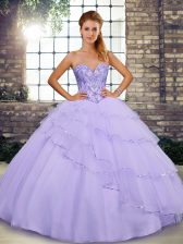 Tulle Sleeveless Quinceanera Dresses Brush Train and Beading and Ruffled Layers
