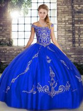 Enchanting Ball Gowns Quinceanera Gowns Royal Blue Off The Shoulder Tulle Sleeveless Floor Length Lace Up