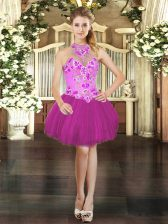Mini Length Fuchsia Prom Party Dress Halter Top Sleeveless Lace Up