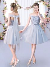 Discount Grey Empire Lace and Belt Vestidos de Damas Lace Up Tulle Sleeveless Knee Length
