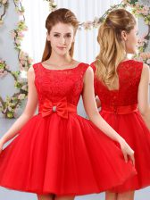 Super Red Sleeveless Lace and Bowknot Mini Length Quinceanera Court Dresses
