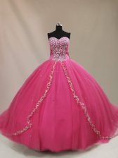 Exceptional Sweetheart Sleeveless Court Train Lace Up Quince Ball Gowns Hot Pink Tulle