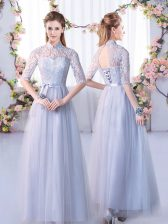 Inexpensive Half Sleeves Floor Length Lace Lace Up Court Dresses for Sweet 16 with Grey