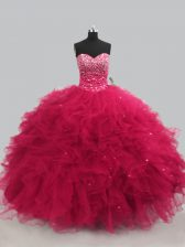 Cheap Sleeveless Floor Length Beading and Ruffles Lace Up 15 Quinceanera Dress with Hot Pink
