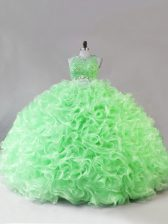 Affordable Floor Length 15 Quinceanera Dress Fabric With Rolling Flowers Sleeveless Beading