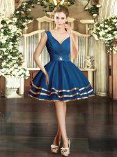 V-neck Sleeveless Backless Prom Dress Blue Organza