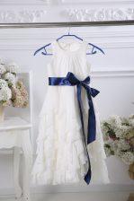 Elegant Floor Length Zipper Flower Girl Dresses for Less White for Wedding Party with Ruffles and Belt