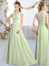 Yellow Green Scoop Neckline Lace Quinceanera Court of Honor Dress Cap Sleeves Clasp Handle