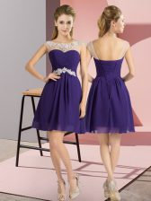 Pretty Mini Length Lace Up Dama Dress for Quinceanera Purple for Wedding Party with Beading